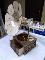Laser Cut Wooden Gramophone Free Vector