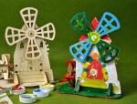 Laser Cut Wooden Mechanical Mill Farm Mill 3D Model Free Vector