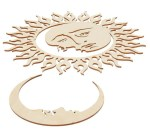 Laser Cut Wooden Moon And Sun Free Vector