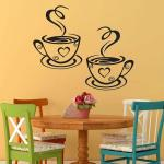 Pair Of Coffee Cups Cafe Tea Wall Stickers Cafe Art Free Vector