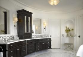 How wonderful is this curved bathroom vanity?
