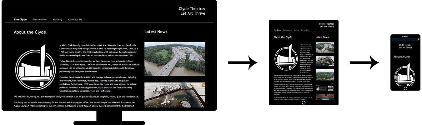 Image of three screenshots showing the responsive design of the Clyde Theatre website