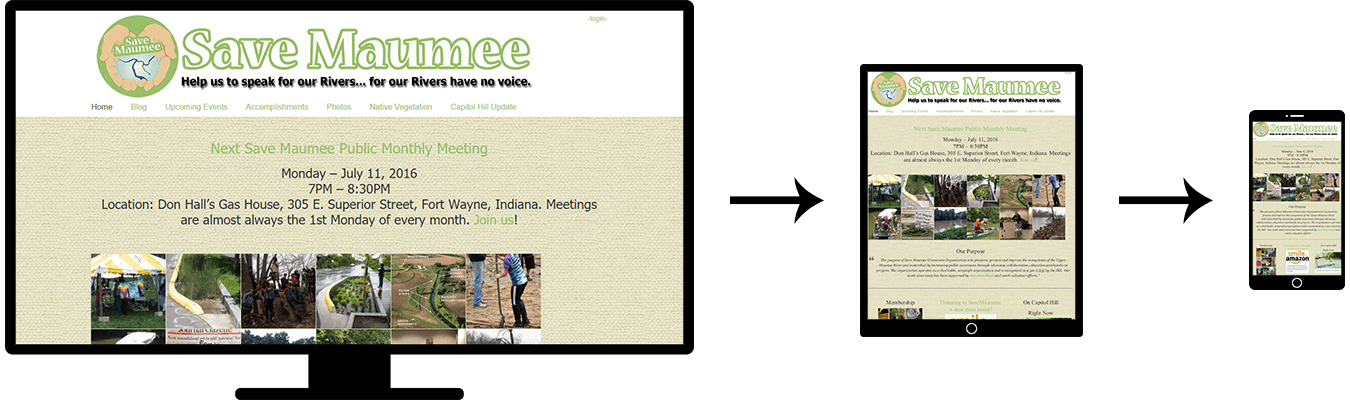 Image of three screenshots showing the responsive design of the Save Maumee website