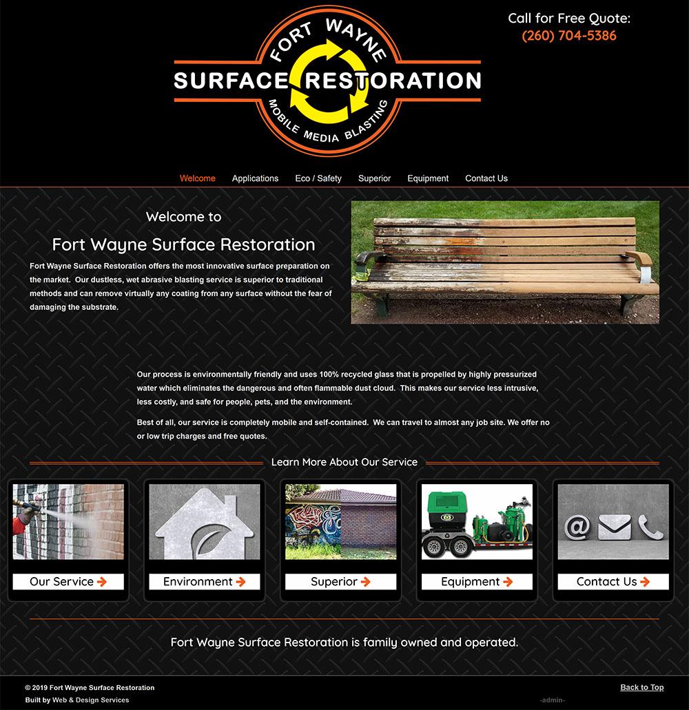 Screenshot of Fort Wayne Surface Restoration website