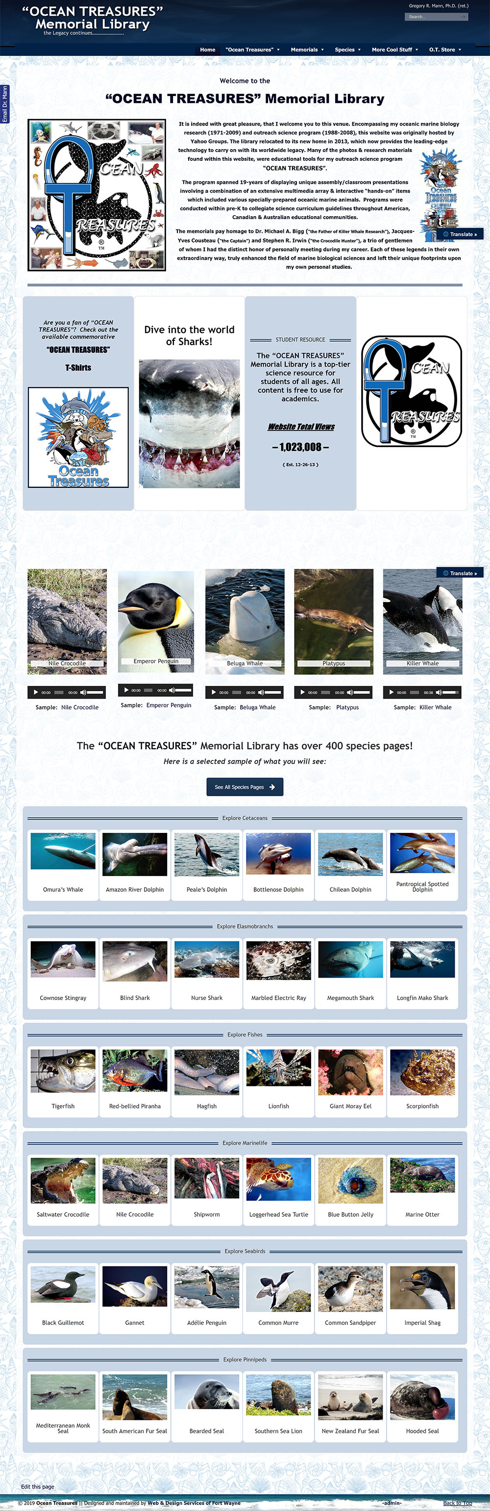 Screenshot of Ocean Treasures Memorial Library website