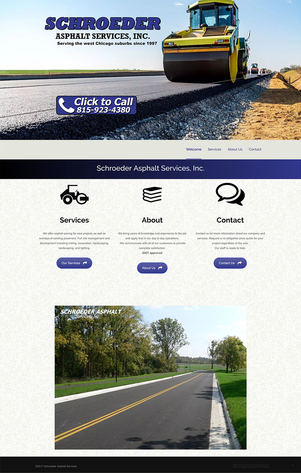 Screenshot of Schroeder Asphalt website