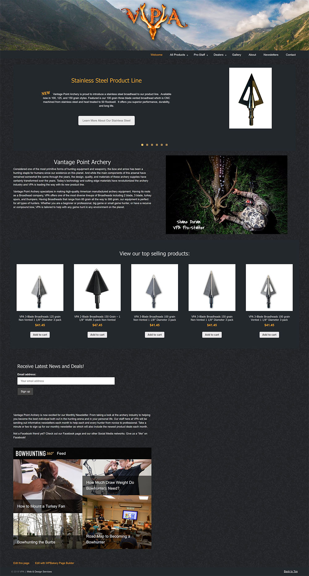 Screenshot of Vantage Point Archery website