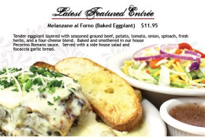 Salvatori's Beverage/Dessert Menu featured entree