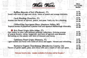 Salvatori's Beverage/Dessert Menu white wine