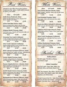 Salvatori's Wine List bi-fold