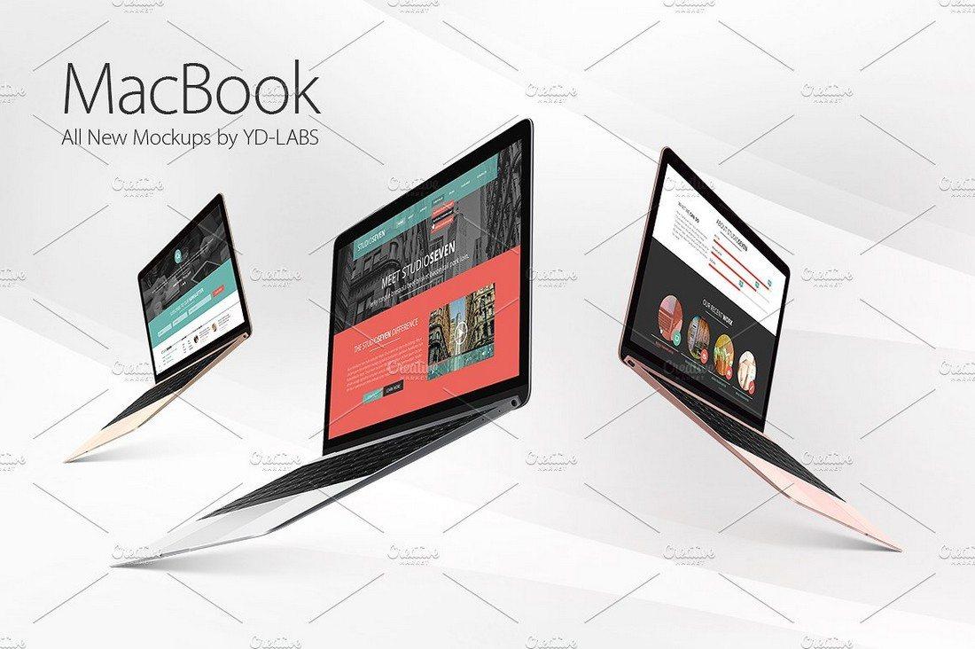 100+ MacBook PSD & Vector Mockups 44