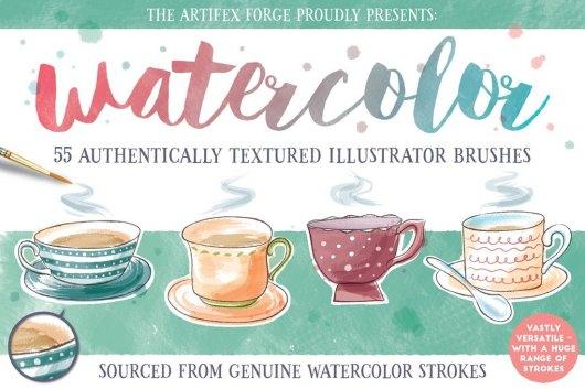55 Watercolor Brushes