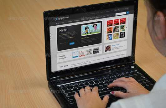 Black Laptop Mockup PSD