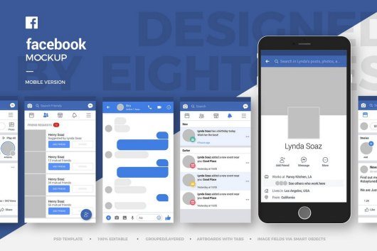 Facebook Mobile Page Mockup Templates