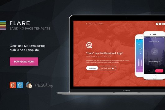 Flare - HTML App Landing Page Template