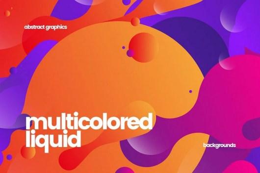 Flat Multicolored Fluid Backgrounds