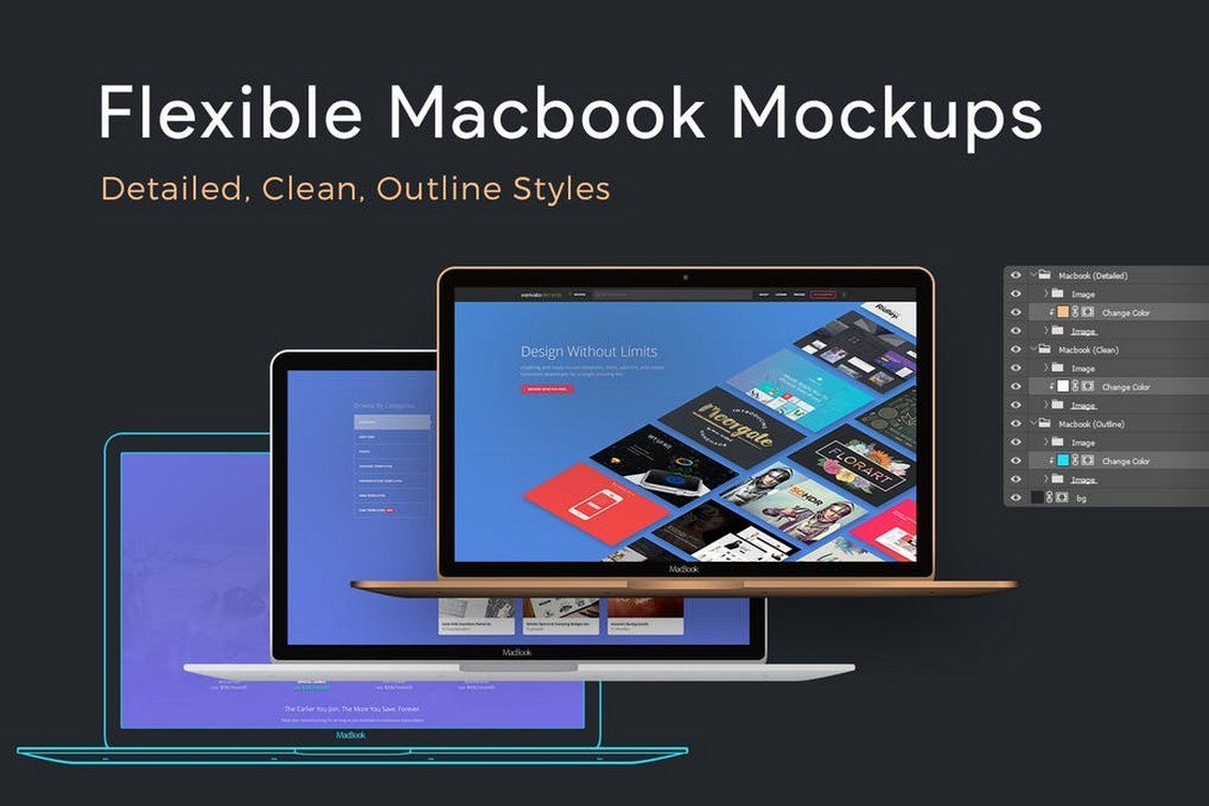 100+ MacBook PSD & Vector Mockups 28