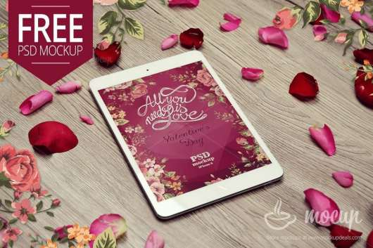 Free iPad Mini Mockup Valentine