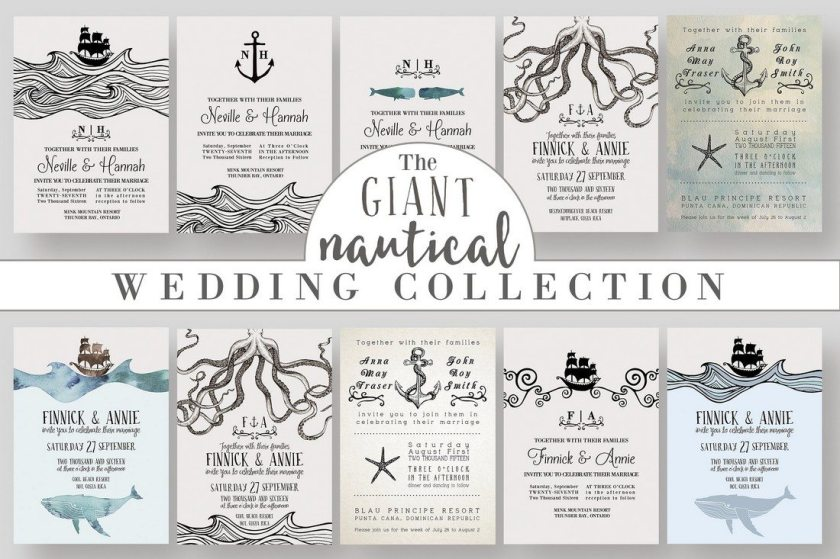 The Use Of Nautical Elements And Ilrations In This Templates Pack Will Add A Special Look To Your Wedding Invitation Rsvp Save Date Cards