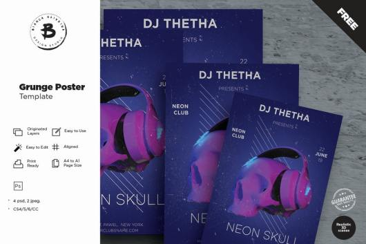 Grunge DJ Music Poster Template