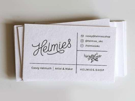 Helmies Letterpress Business Card