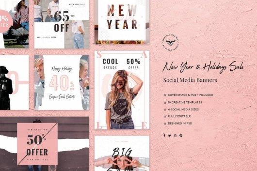 New Year & Holidays Sales Social Media Kit
