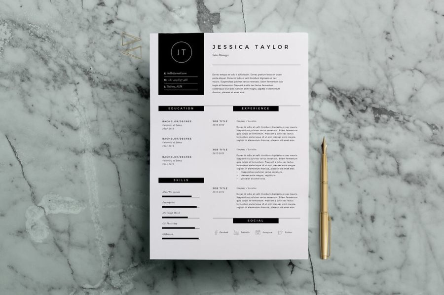 50  Best CV   Resume Templates of 2018   Design Shack Resume Template 3 Page