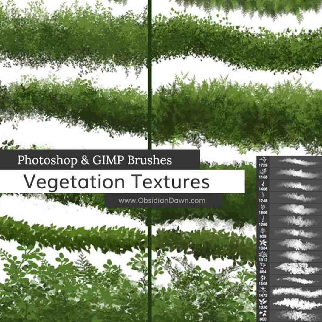 Vegetation & Foliage Textures Photoshop Brushes