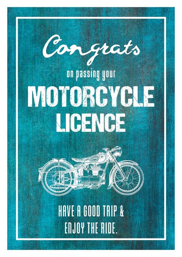 Motorcycle Licence Congratulation