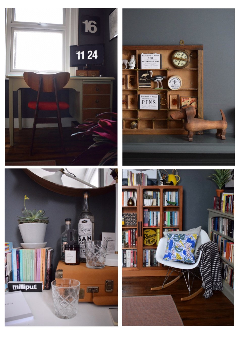 bohemian modern mid century vintage farrow downpipe modernist study home office styling ideas and inspiration eames rocker, teak cabinet, tom dixon copper light  1