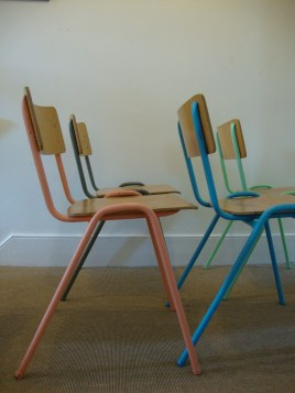 D.I.Y Colour Pop Chairs - Bright Plywood School Chairs Pastel Pink, Blue, Green, Modernist Grey 1