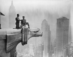 Vintage New York Skyscraper tighrope walkers trapeze