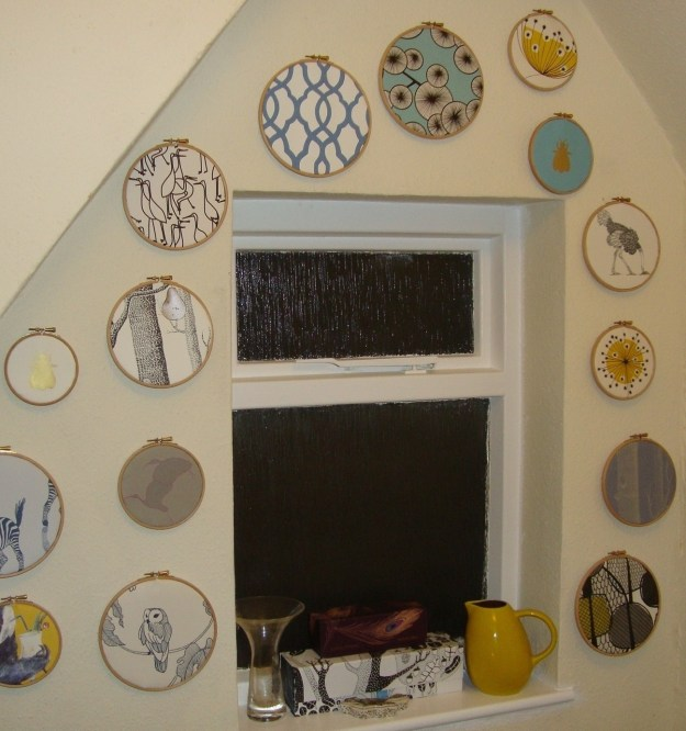 Wallpaper Samples in Embroidery Hoops