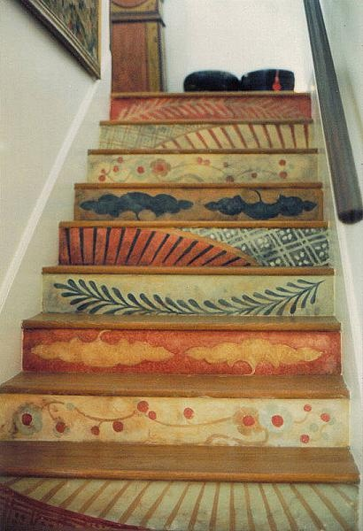 painted patterned stairs