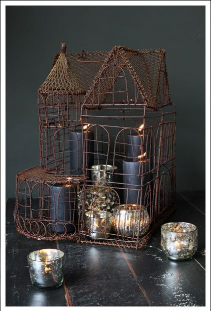 wire work house candle holder decoration Rockett St George