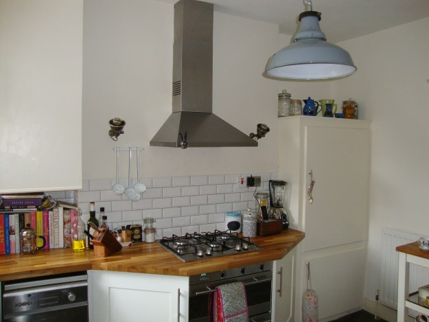 Rustic Vintage Industrial Kitchen - Oak worktop, metro tiles, farrow ball pointing cupboards, slipper satin paint, larder.