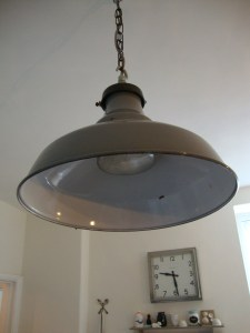 Vintage Grey Enamel Industrial railway GWR Light Pendant