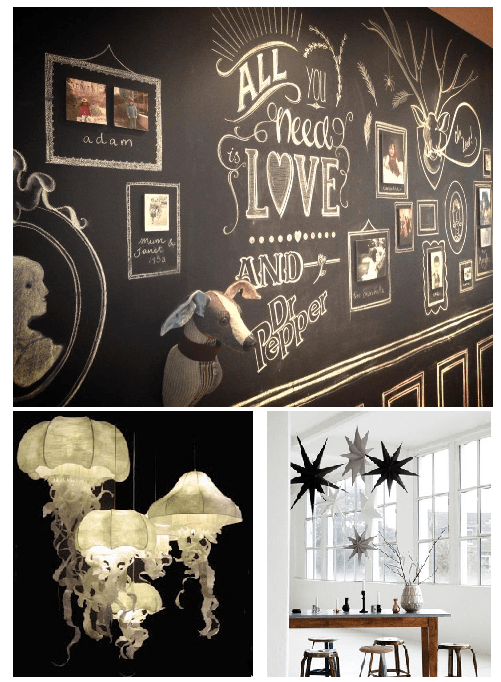 Octopus Lighting Chalkboard wall art Monochrome
