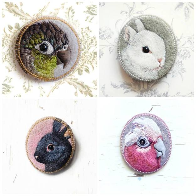 Paulina Bartniks Tiny portraits animal embroidery