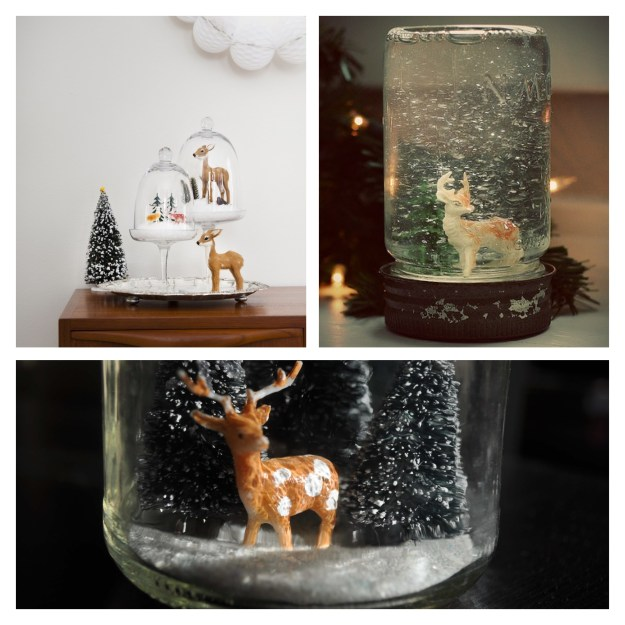 Kitsch Vintage d.i.y Deer snowglobe decorations