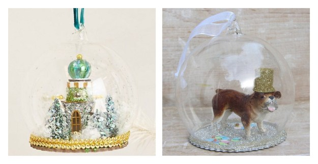 anthropologie-snow-globe-christmas-decoration Party hat dog kitsch vintage