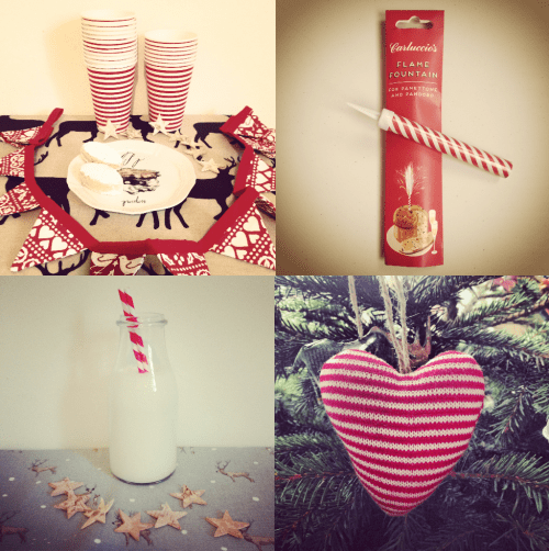 Candy Cane Christmas red White stripe Decorations - Carluccio's, Gisela Graham Heart, Ikea paper cups, stripy circus staws