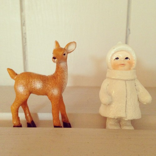 Deer Figurine & white snow person eskimo christmas cake decorations