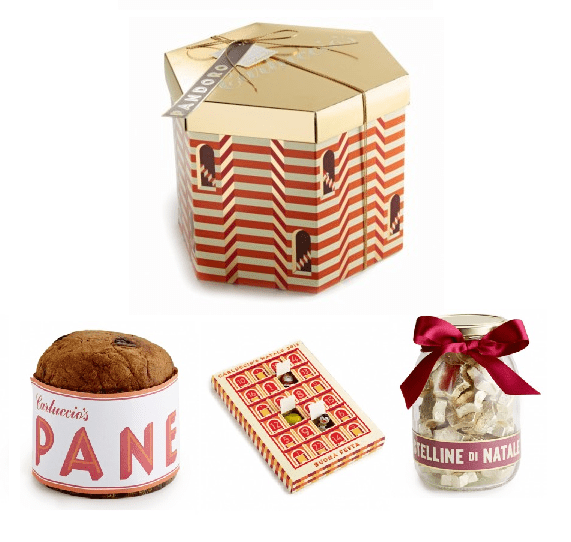 Carluccios Christmas packaging Panetone, pandoro, advent calendar, bonne natale