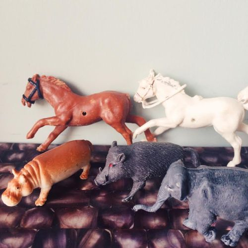 Schleich Style Animal Figurines - elephant, horses, hippo, wild boar