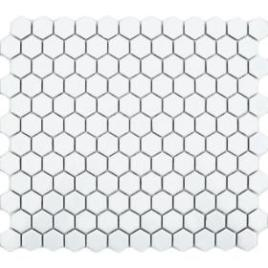 white hexagon floor tiles