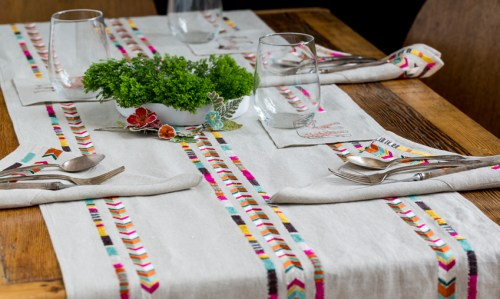 Coral & Tusk Embroidered native American Chevron Tablecloth Runner napkins