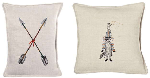 Coral & Tusk Emroidery Cushion Crossed Arrows Raccoon Ermine Headress feather Native American