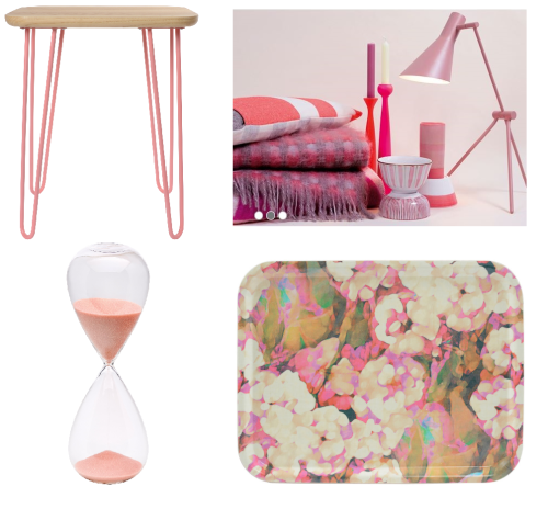Heals Think Pink - Pastel Pink Baines Side Table Powder Coated - Bitossi Clessidre Timer - Imogen Heath Rosa Pink Tray