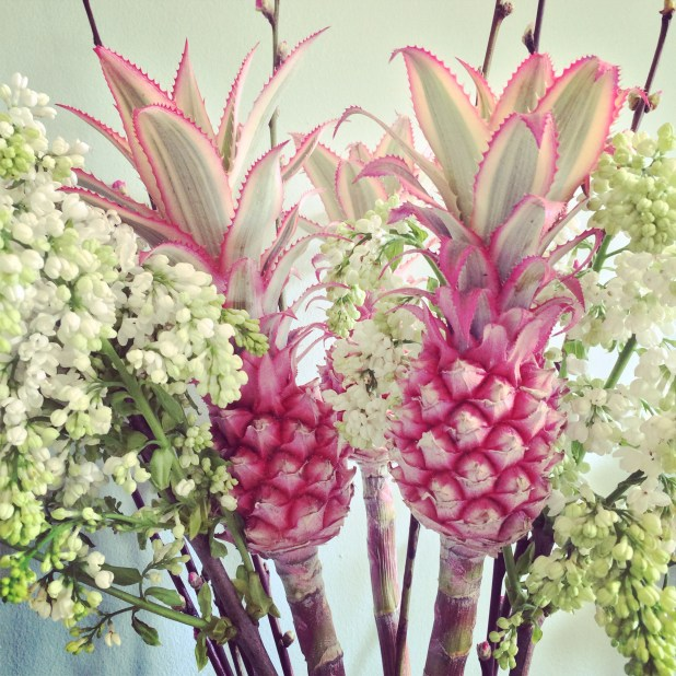 Pink Pineapples and White Lilac, Columbia Rd Flower Market